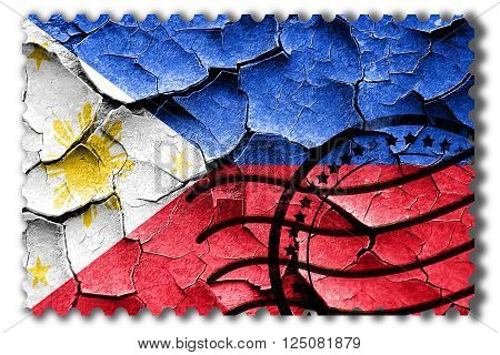 Postal stamp: Grunge Philippines flag with some cracks and vintage look