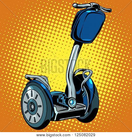 Abstract electric scooter with flashlight segway pop art retro style. Vector ecological tourism electric vehicles