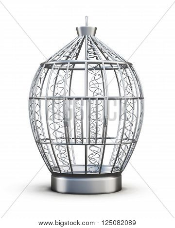Metal birdcage with ornaments isolated on white background. Front view. 3d rendering.