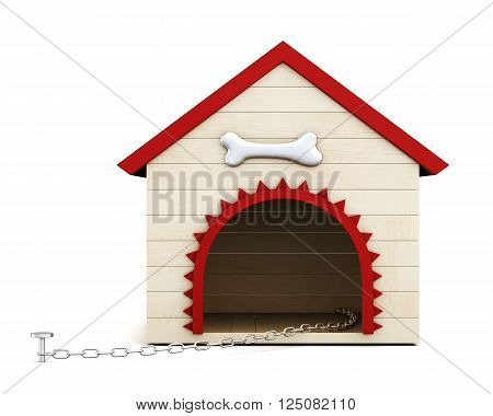 Dog house with chain isolated on white background. Front view. 3d rendering.