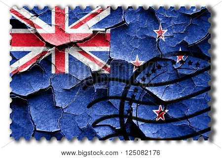 Postal stamp: Grunge New zeeland flag with some cracks and vintage look