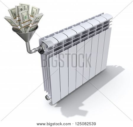 Energy savings concept with radiator, funnel and money - 3D illustration