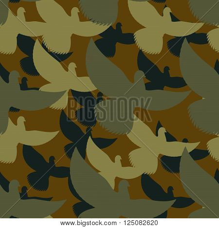 Military Camouflage Pigeons. Birds Protective Seamless Pattern. Army Soldier Texture For Clothes. Or