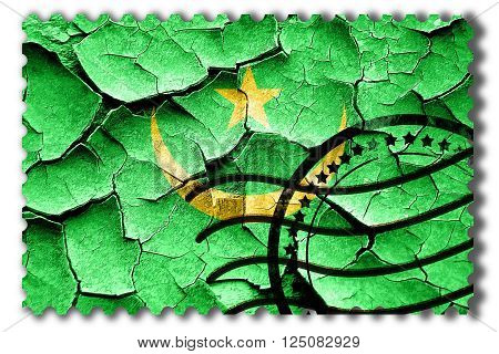 Postal stamp: Grunge Mauritania flag with some cracks and vintage look