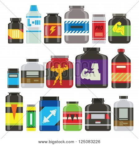 Sports nutrition food icons in flat style detailed vector illustration. Sports food nutrition healthy food and sports nutrition fitness diet. Sports nutrition food bodybuilding proteine power drink. Fresh protein. Sport food vector