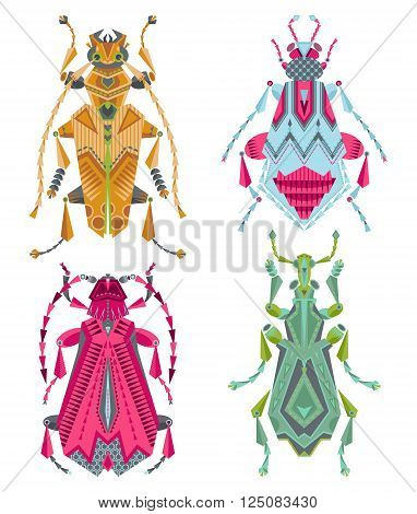 Set of 4 various multi-colored insects on a white background. Vector illustration