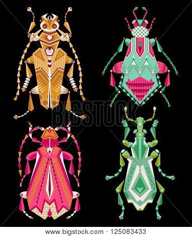 Set of 4 various multi-colored insects on a black background. Vector illustration