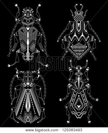Set of 4 various bugs on a black background. Black and white. Vector illustration