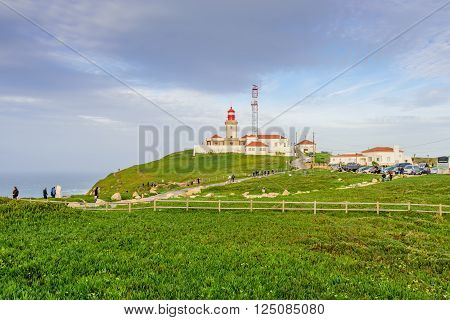 Cabo da Roca, Portugal - January 9: lighthouse in the Cabo da Roca, the western point of Europe in January 9, 2016, in Cabo da Roca, Portugal.