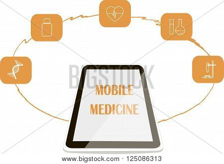 Banner Mobile medicine. White shiny mobile phone, heart, cardiogram, DNA, microscope, medicine bottle, flask orange icons. Object isolated, on white background, vector