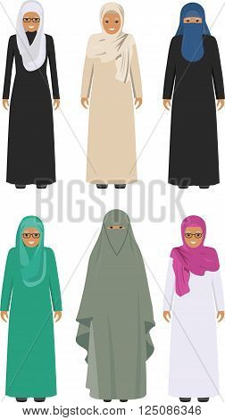 Detailed illustration of different standing arab old women in the traditional national muslim arabic clothing isolated on white background in flat style.