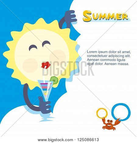Summer sun chilling out with cocktail. Vector illustration