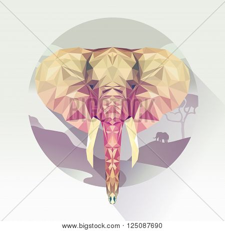 Vector illustration of elephant on background of African landscape. Geometric low poly elephant design. Isolated polygonal elephant.