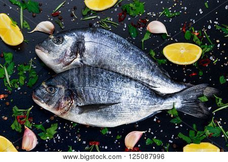Fresh Raw Sea Bream Fish on blue stone background with vegetables and herbs.