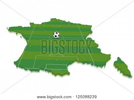 detailed illustration of a 3D map of france with a soccer field and ball, eps10 vector