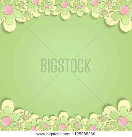 Flowers Spring border card 3D green yellow vector