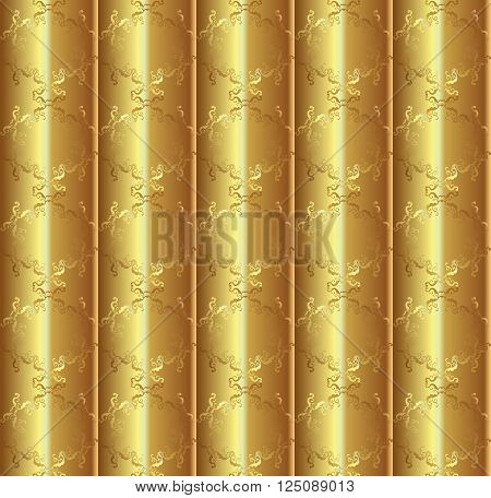 Gold silk ornamental seamless patterns. Decorative ornament on shades of gold background, silk textile for theater curtain.Template for Art, Print, Fashion, Home decor, Textile design