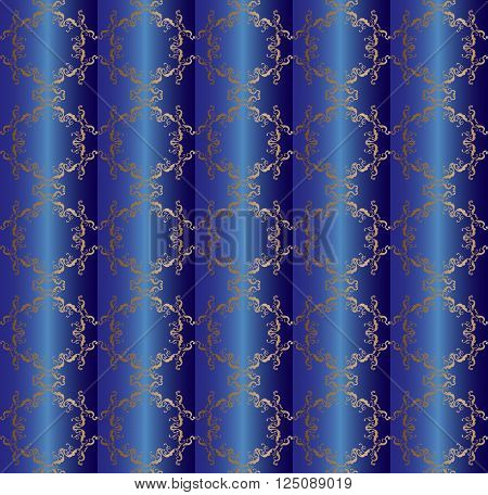 Decorative seamless pattern. Silver ornament on dark blue background, silky texture. For Print, Fashion, Home decor, Textile design.