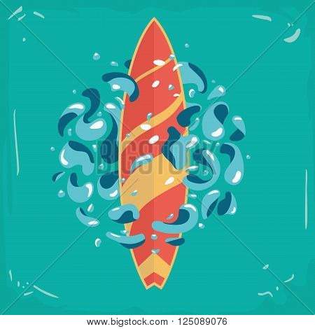 Vector surfboard and water splashes. Vintage poster with a surfboard.