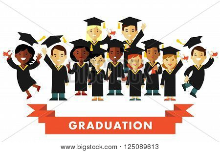 Different happy young graduate students people with graduate cap and certificate isolated on white background