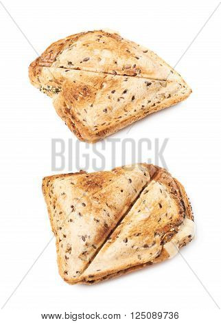 Press toasted sandwich panini isolated over the white background, set of two different foreshortenings