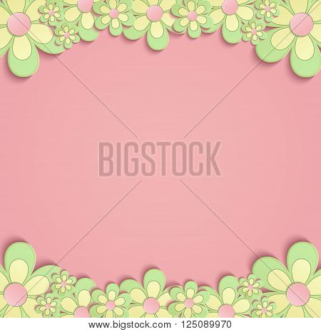 Flowers Spring border card 3D pink green vector