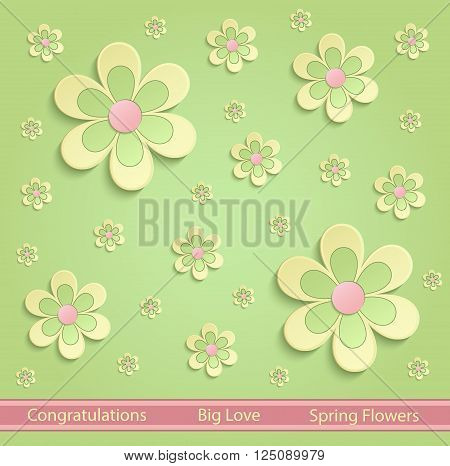 Flowers Spring paper 3D green yellow pink vector
