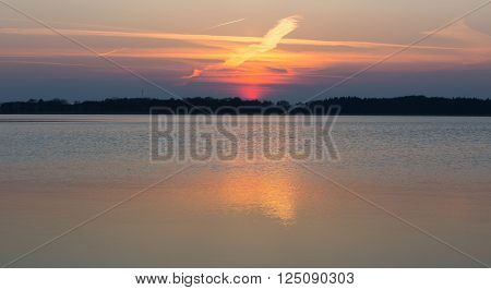 Beautiful and colorful lake landscape. Lake in Mazury lake district in Poland.