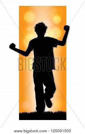 silhouette of boy running on a meadow