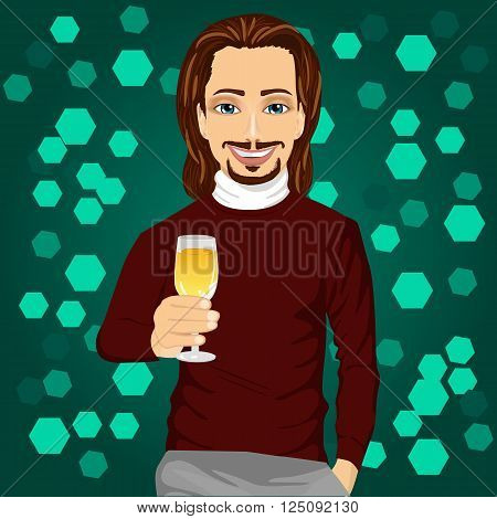 handsome young man holding a glass of champagne at the night club party