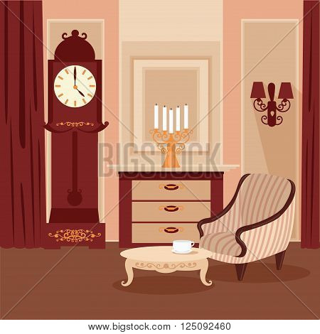Living Room. Classic Interior. Vintage Style. Retro Furniture. Room Interior with Vintage Candlestick. Home Interior. Vector illustration