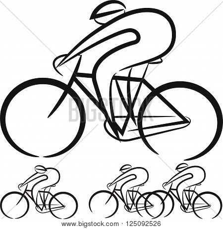 cyclists - vector silhouettes of the cycling race