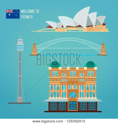 Sydney Architecture. Tourism Australia. Opera House. Sydney Buildings. Welcome to Sydney. Vector illustration