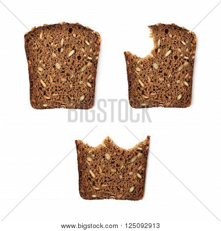 Black bread slice isolated over the white background, set of three images, whole and bitten