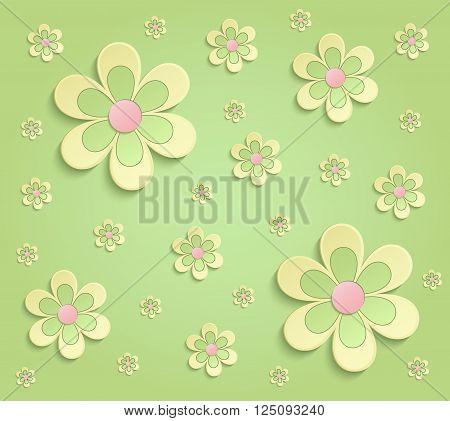 Flowers Spring paper 3D green yellow pink wallpaper raster