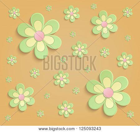 Flowers Spring paper 3D orange green wallpaper raster