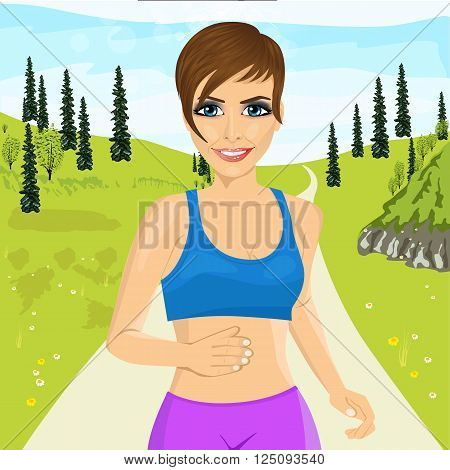 portrait of young happy woman jogging outdoors in park