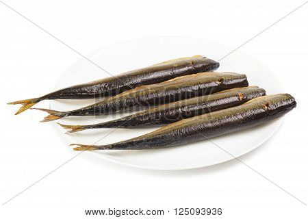 Cold smoked saury on plate isolated on a white background
