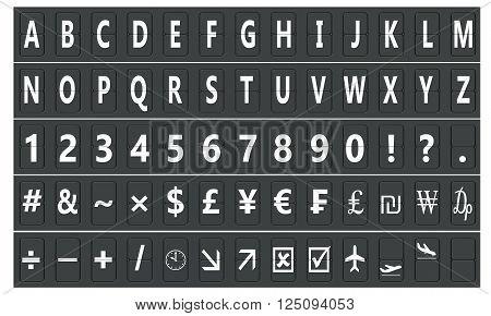Set of letters on a mechanical scoreboard 3D rendering