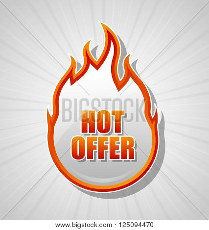 Glossy hot offer icon with sunburst effect on pale grey background