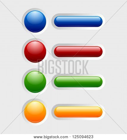 Set of colorful glossy buttons with icons sunken in pale background surface