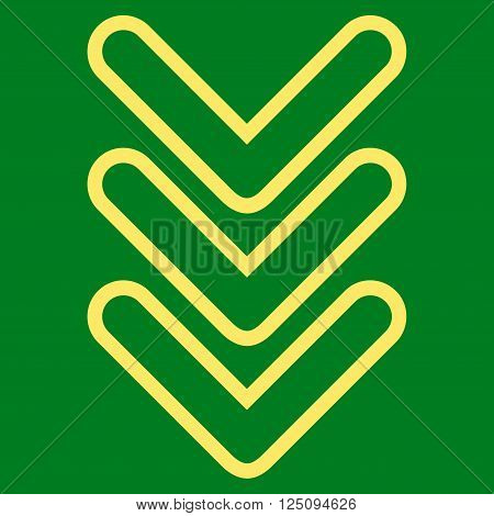 Triple Pointer Down vector icon. Style is thin line icon symbol, yellow color, green background.