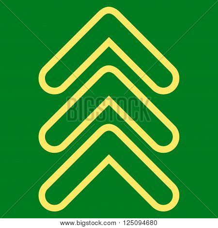 Triple Pointer Up vector icon. Style is contour icon symbol, yellow color, green background.