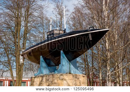 Gatchina. Monument of the first Russian submarine. Submarine was built in 1879 and tested in 1881 at Silver Lake in front of the Gatchina Palace in the presence of Emperor Alexander III.