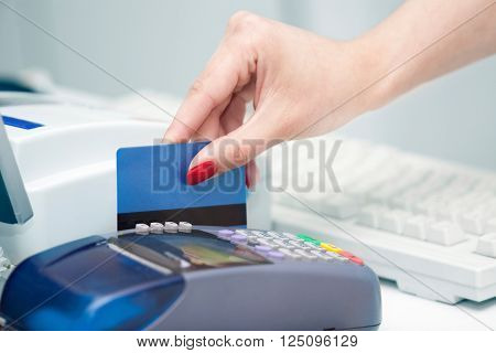 Hand of Woman Using Payment Terminal in an Shop Paying With Credit Card Credit Card Reader Finance Concept
