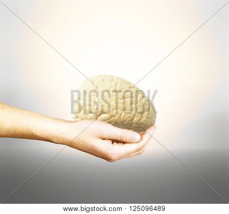 Male hand holding brain on light background