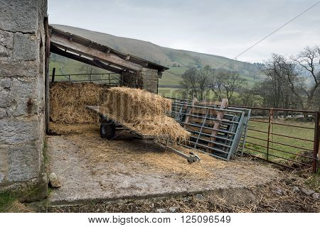 Kettlewell,,UK - March 12, 2016. Hay storage on a hillside farm in the Yorkshire Dales National Park