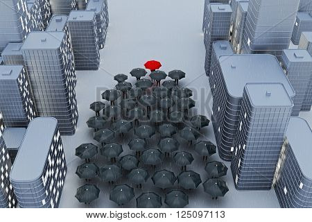 Leadership concept with crowd of people with black umbrellas following person with red umbrella in abstract city. 3D Rendering