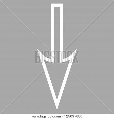 Sharp Arrow Down vector icon. Style is thin line icon symbol, white color, silver background.