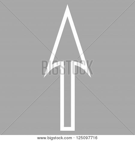 Sharp Arrow Up vector icon. Style is thin line icon symbol, white color, silver background.